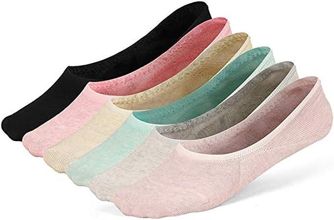 6 Pares Adulto-S Sólido Color Algodón Low Tube Casual Vestido Verano Calcetines Calcetines Invisibles Mujer Malla Superior De Ventilación Fresca Calcetines (Multicolor): Amazon.es: Ropa y accesorios