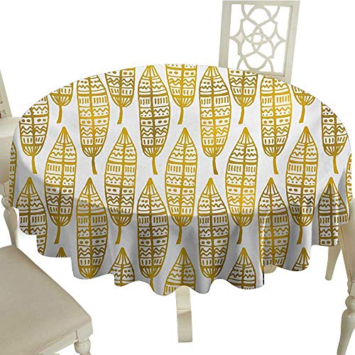 Cranekey Round Outdoor Round Tablecloth with 60 Inch Feather,Tribal Ethnic Detailed Native American Inspired Boho Artwork Print,Amber Marigold and White Great for,Party & More