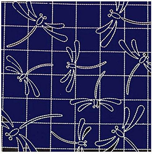 (Sashiko Fabric - Pre-Printed Sashiko Sampler - Dragonflies on Grid - Navy #240)
