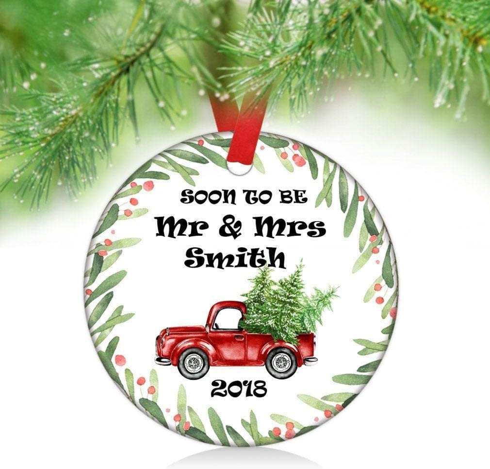 Cukudy Soon to Be Mr & Mrs Engagement Christmas Ornaments,Red Truck Floral Wreath Ornament,Custom Christmas Party Decor Ceramic C.