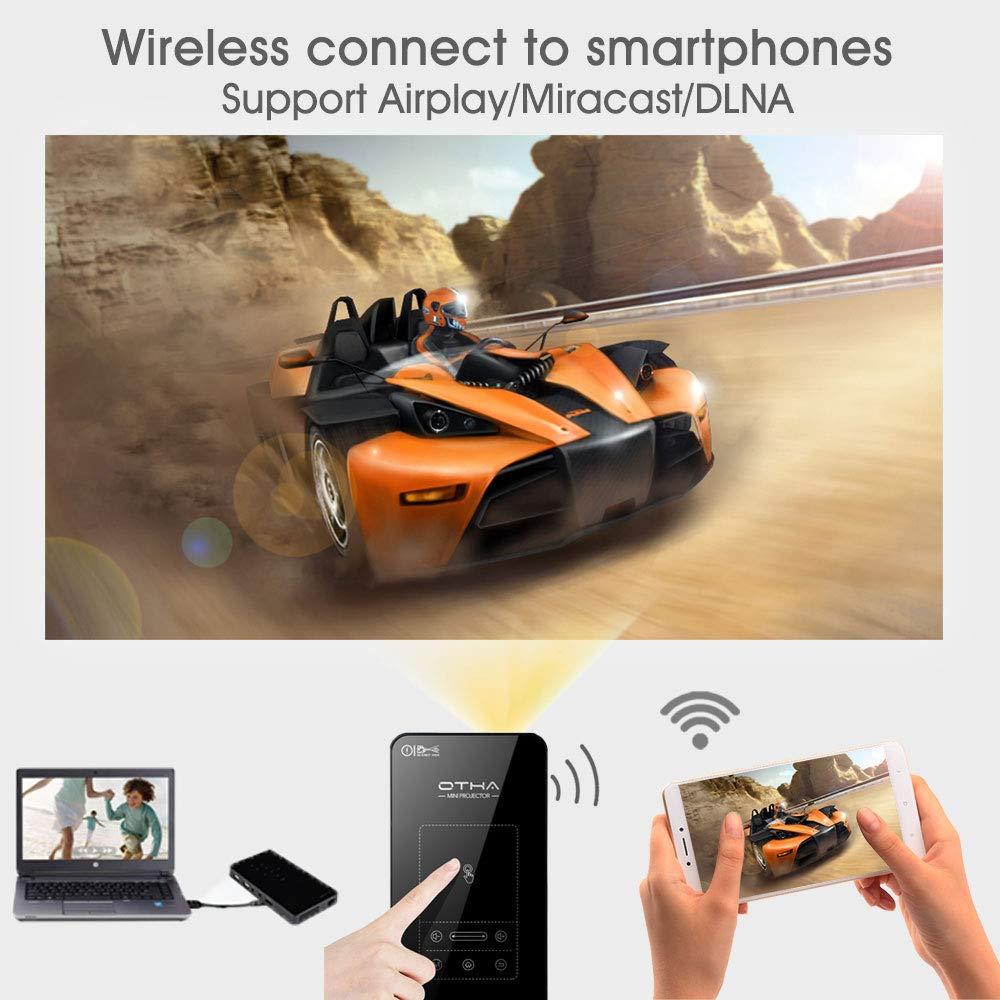 32 GB Proyector Full HD Android 7.1 OTHA Proyector Smart Android Projector con Tripod Remote,Proyector de Cine en casa inal/ámbricos de 120 Pulgadas Negro para iOS y Android Mini Proyector