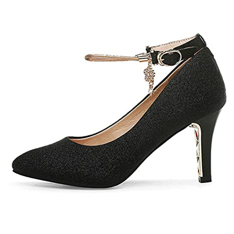 : DFUCF New Women's Black Cut Out Ankle Strap