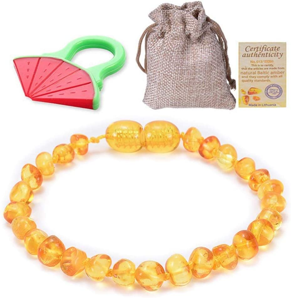 LETAMG Pulsera/Tobillera de ámbar Collar De Ámbar Niños Collar De Dentición De Ámbar/Pulsera para Bebé-Paquete Simple-Probado En Laboratorio