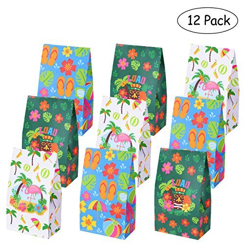 Tinksky Luau Party Supplies Hibiscus Paper Bags Tropical Treat Gift Paper Bag Hawaiian Party Treat Bags Summer Party Favor Candy Bags,Pack of 12 -
