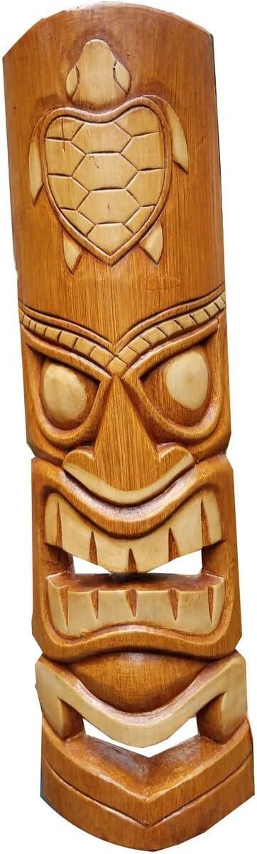 "All Seas Imports 20"" Handcarved Wood Natural Turtle Tropical Hawaiian Design Tiki Mask!"