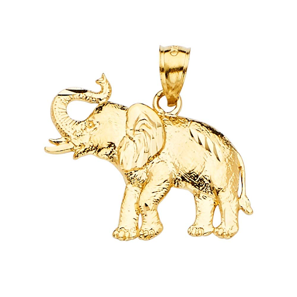 Jewels By Lux 14K Yellow or White And Yellow Two Tone or White Yellow And Rose Tri Color Gold Elephant Pendant
