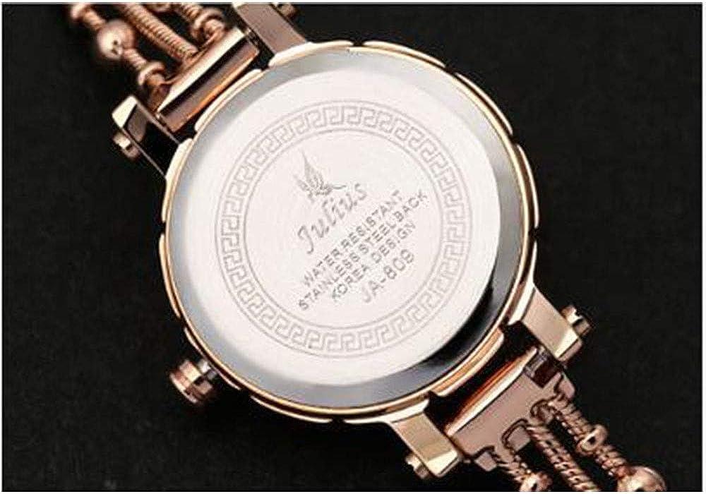 Julius Petite Montre Bracelet de Diamants de la Mode Reine Tableau Femme Montre à Quartz Compact étanche. B