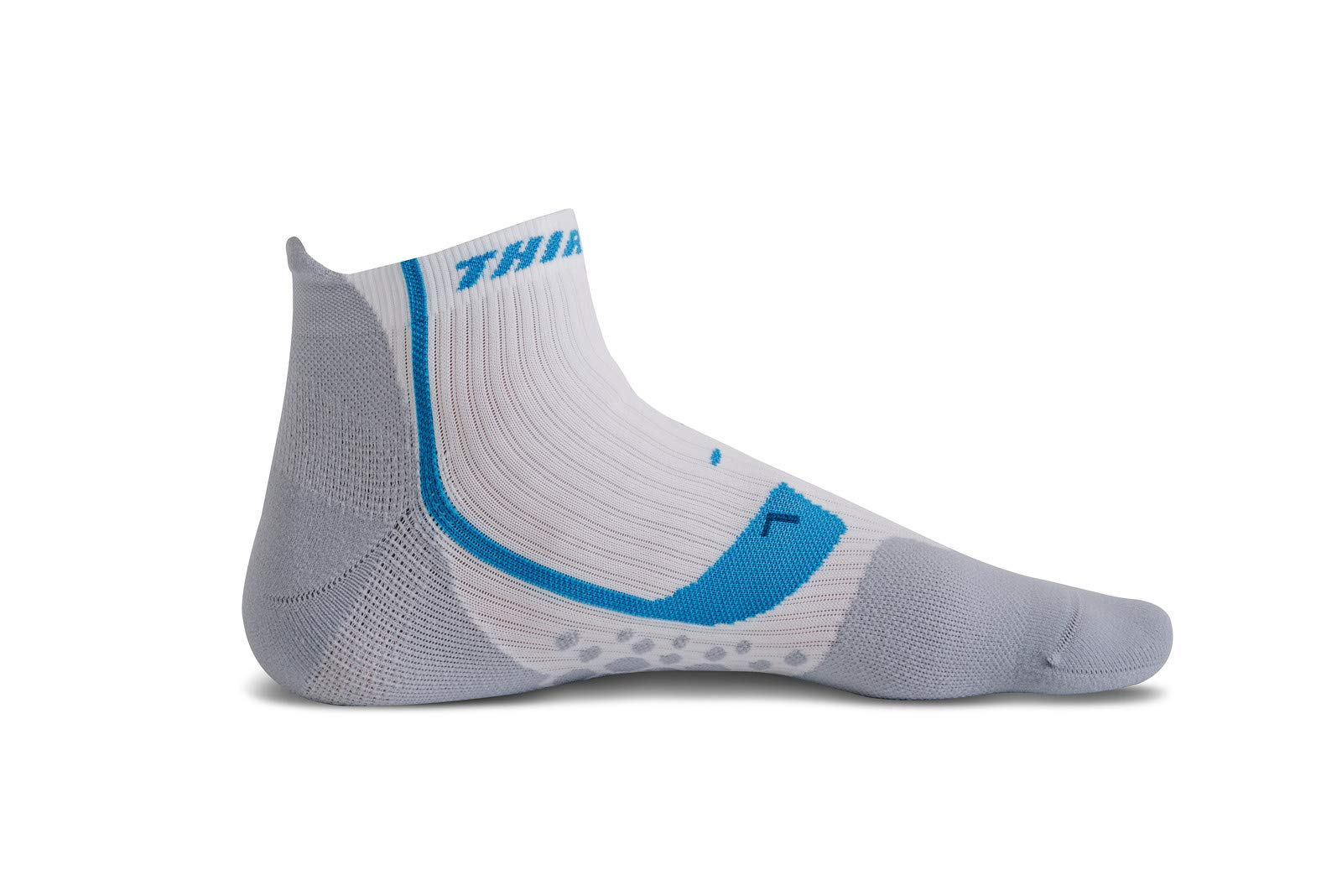 Thirty 48 Compression Low-Cut Running Socks for Men and Women (Small - Women 5-6.5 // Men 6-7.5, [1 Pair] Blue/White)