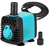 KEDSUM 130GPH Submersible Pump (600L/H,10W), Ultra Quiet Water Pump 3ft High Lift, Fountain Pump 4.6ft Power Cord, 2 Nozzles Fish Tank, Pond, Aquarium, Statuary, Hydroponics