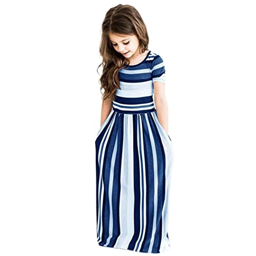 dad02bc31a9d3 Moonker Girls Dresses,Toddler Baby Girls Striped Long Dress Kids Children  Party Beachwear Dresses Outfits