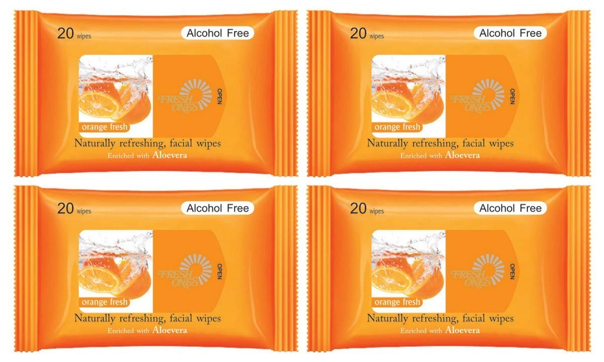 FreshOnes Naturally Refreshing Wipes Orange Fresh (20 Wipes, Pack of 4)