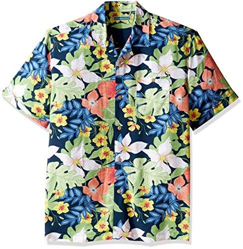 Tropical Floral Camp Shirt - Cubavera Men's Short Sleeve 100% Rayon Tropical Floral Print Cuban Camp Shirt, Moonlight Ocean, Extra Large