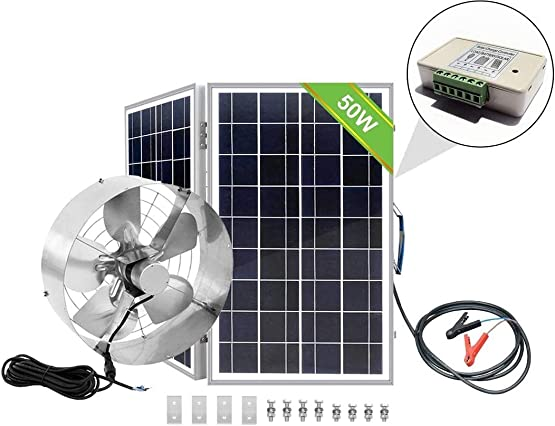 ECO-WORTHY 3000 CFM Solar Attic Fan with 50W Poly Folding PV Solar Panel Kit for Your House, Gabel Vent, Garage or RV
