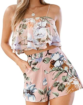 29c5315d6b9 Amazon.com: Women Summer 2 Piece Off Shoulder Outfits Floral Print Ruffle Crop  Top Short Pants Jumpsuit Romper: Clothing
