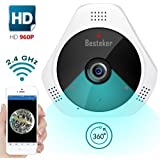 Besteker Security Camera System Wireless 360 960P WIFI Indoor Surveillance Camera With Night Vision Motion Detection and 2-Way Video