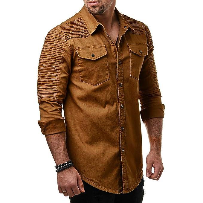 Blusa de Hombre de BaZhaHei, Camisetas Hombre de Camisa de botón de Corte Slim Casual