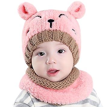 439473ad923 Chic-Chic 2pc Bonnet + Tour de Cou Hiver Bébé Enfants Cagoule Chaud  Casquette Echarpe