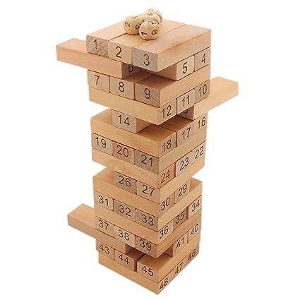 Tootpado Tumbling Tower 40 Wooden Building Block Games 40cm 40c40 Brown Interesting Games With Wooden Blocks