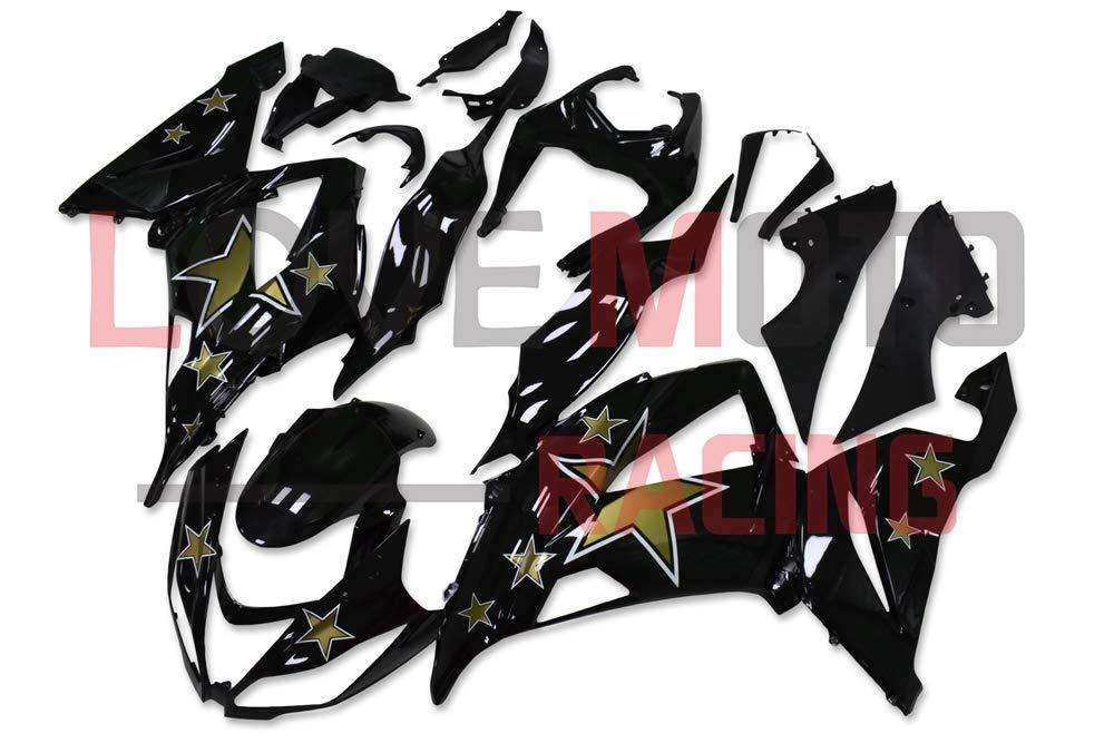 LoveMoto ブルー/イエローフェアリング カワサキ kawasaki ZX6R ZX-6R Ninja 636 2013 2014 2015 2016 ZX6R ABS射出成型プラスチックオートバイフェアリングセットのキット ブラック   B07KQ5RQDT