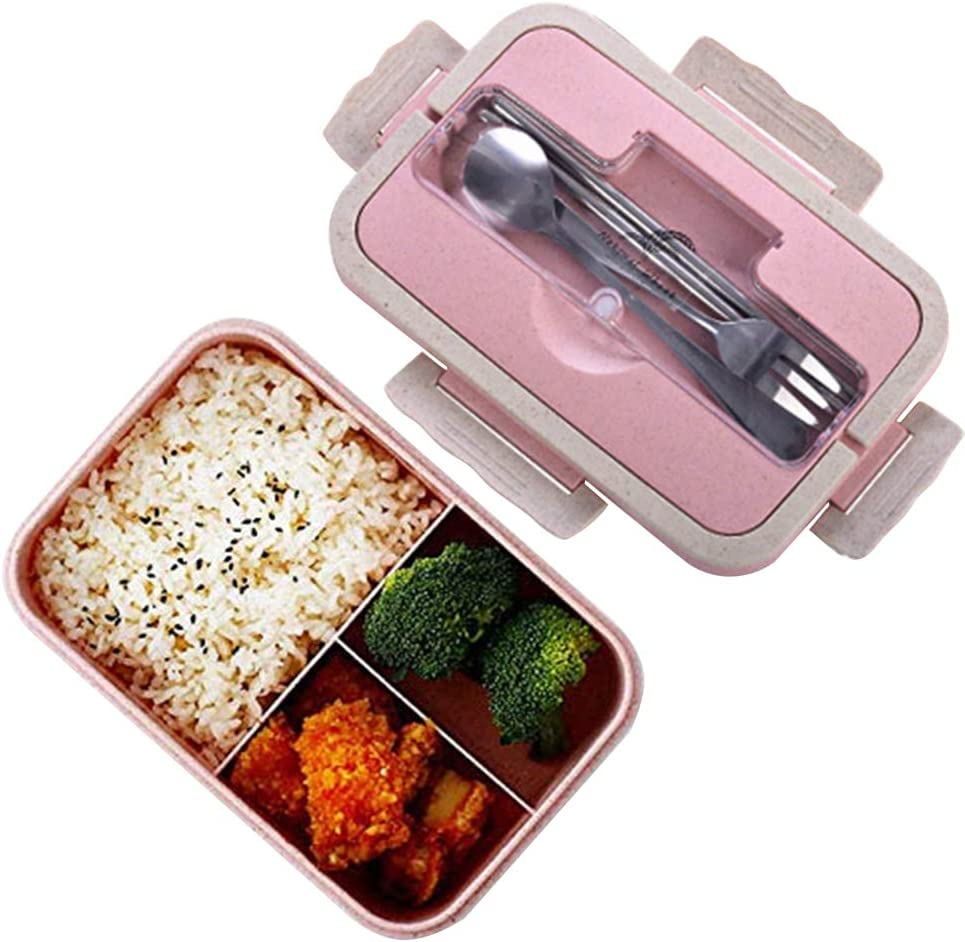 Fiambreras bento, Fiambrera de seguridad de trigo natural de 1000 ml con palos, cuchara para niños y adultos, apta para microondas y lavavajillas rosa