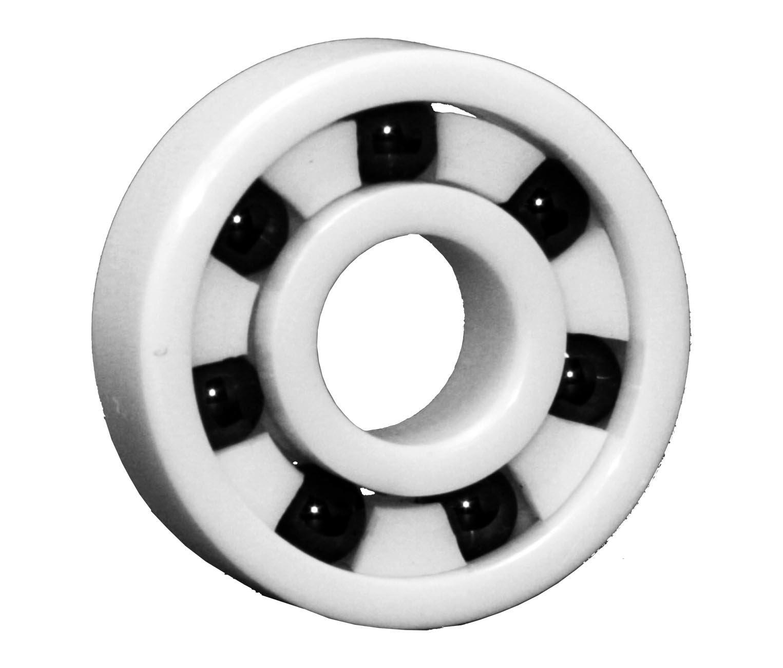 High Speed Skateboard Bearings, Full Ceramic, White (Pack of 8)