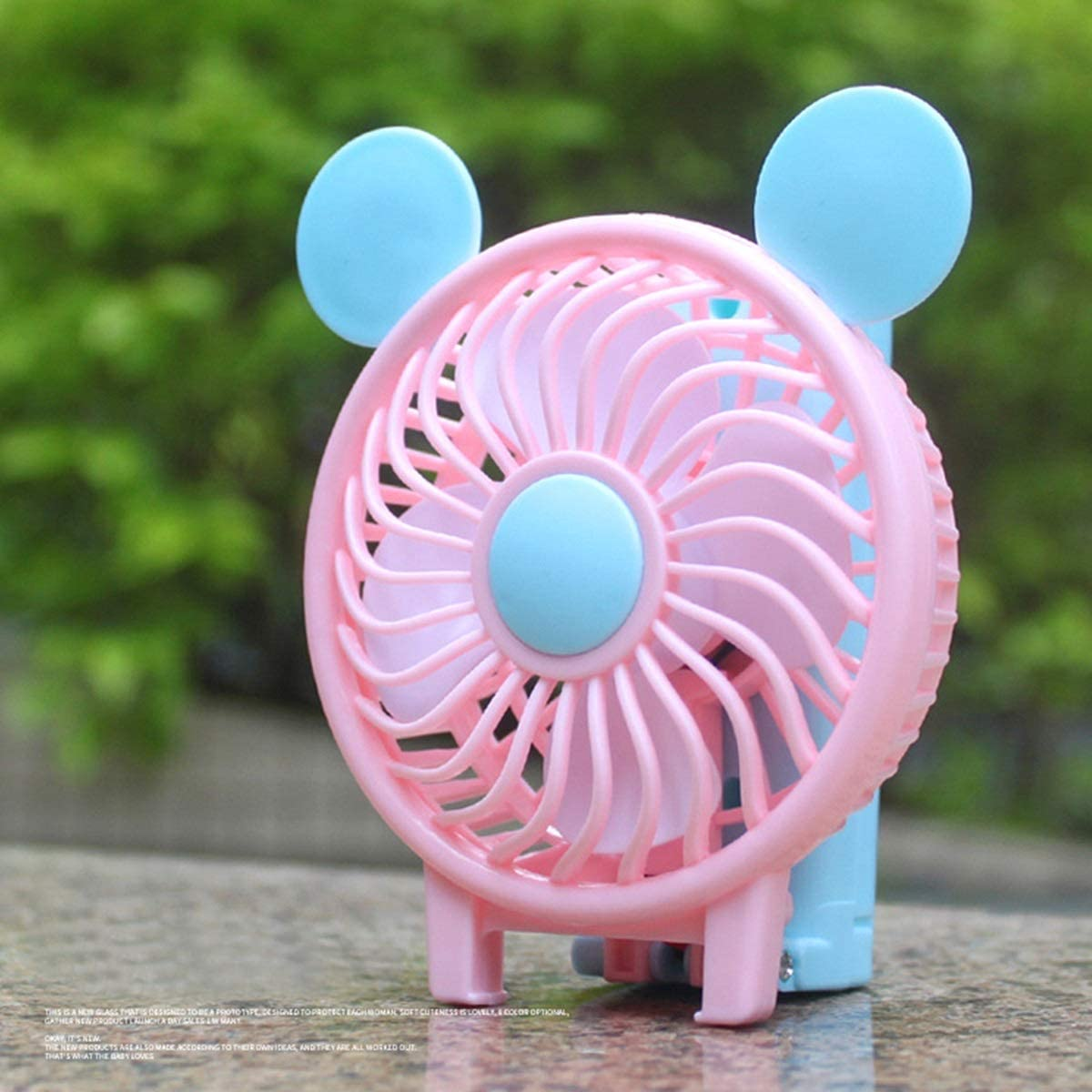 Mini Electric Desk Cooling Fan for Office Room Outdoor Travel Color : Pink Haokaini Portable USB Charging Fans Cute Foldable Cooling Fan