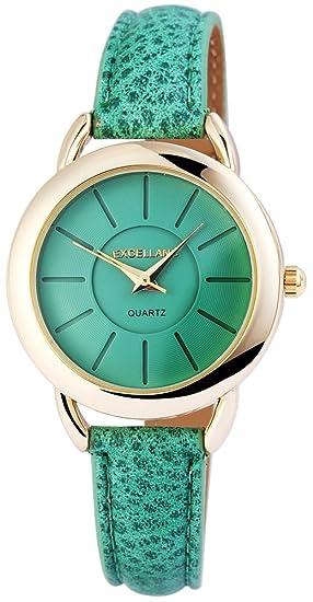 Reloj mujer verde oro Piel Mujer Reloj De Pulsera