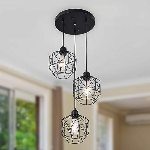 SGLfarmty Farmhouse Pendant Light Loft Design Vintage Chandelier Black Basket Cage Hanging Ceiling Lamp Fixture