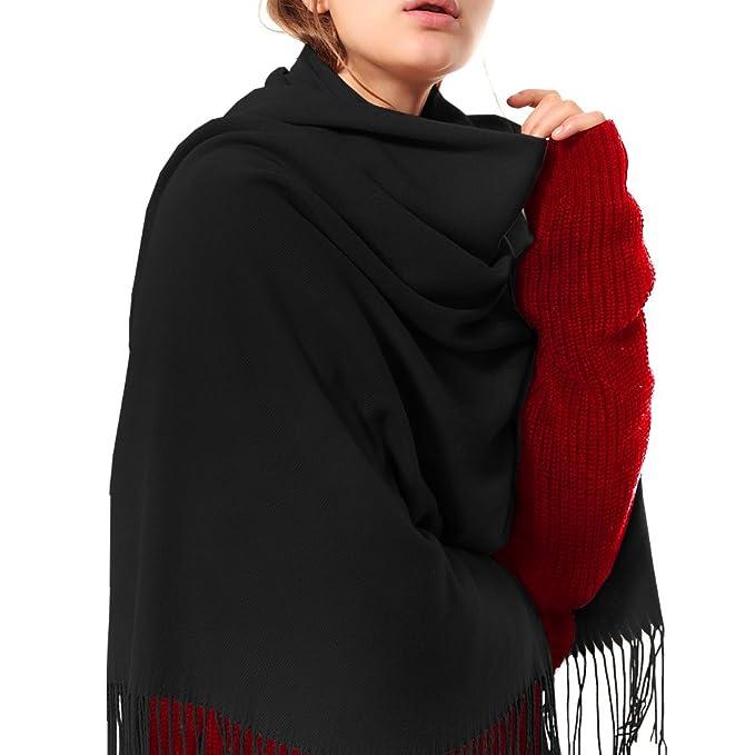 fc6b3de202b Womens Thick Soft Cashmere Wool Pashmina Shawl Wrap Scarf - Aone Warm Stole