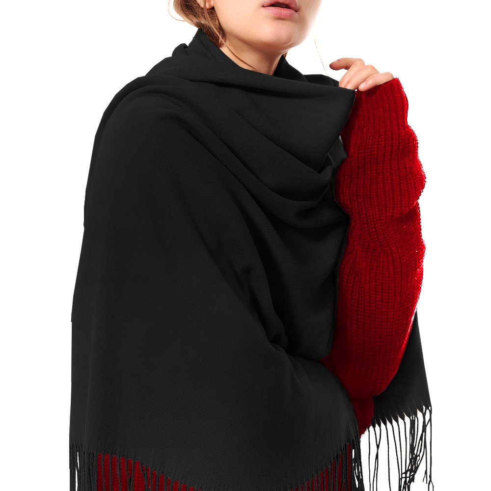 Womens Thick Soft Cashmere Wool Pashmina Shawl Wrap Scarf - Aone Warm Solid Color Stole(Black)