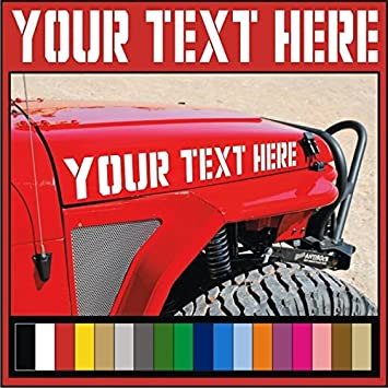 Amazoncom Your Custom Text  Vinyl Hood Decals Stickers - Custom vinyl car hood decals