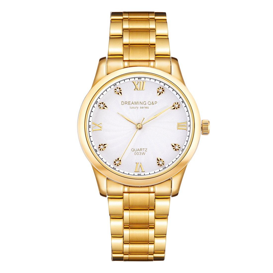 Gold Stainless Steel Men's Luxury Wrist Watch,fq003 Analog Quartz Unisex Wristwatch for Man Woman,Roman Numeral White Dail