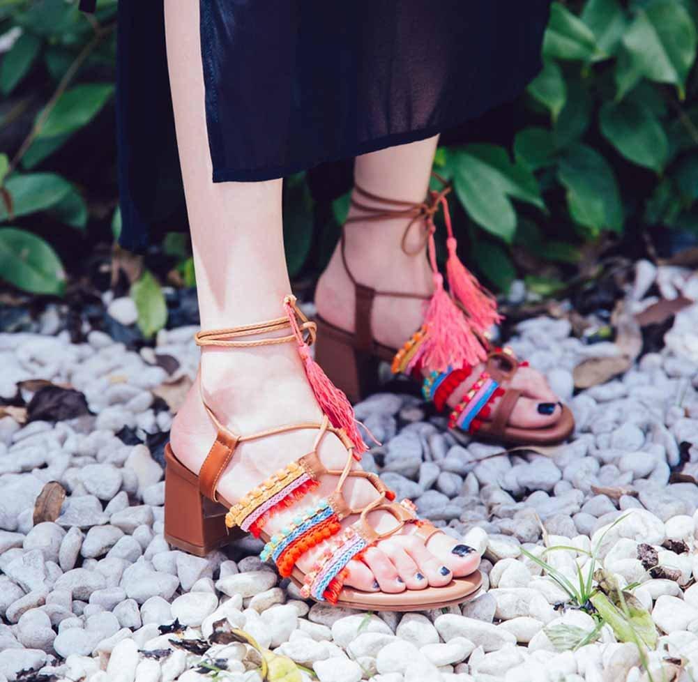 SHINIK Frauen Quaste Strap Römischen Sandalen Europa Amerika Amerika Amerika Mode Clip Toe Ledersandalen 21f5ad