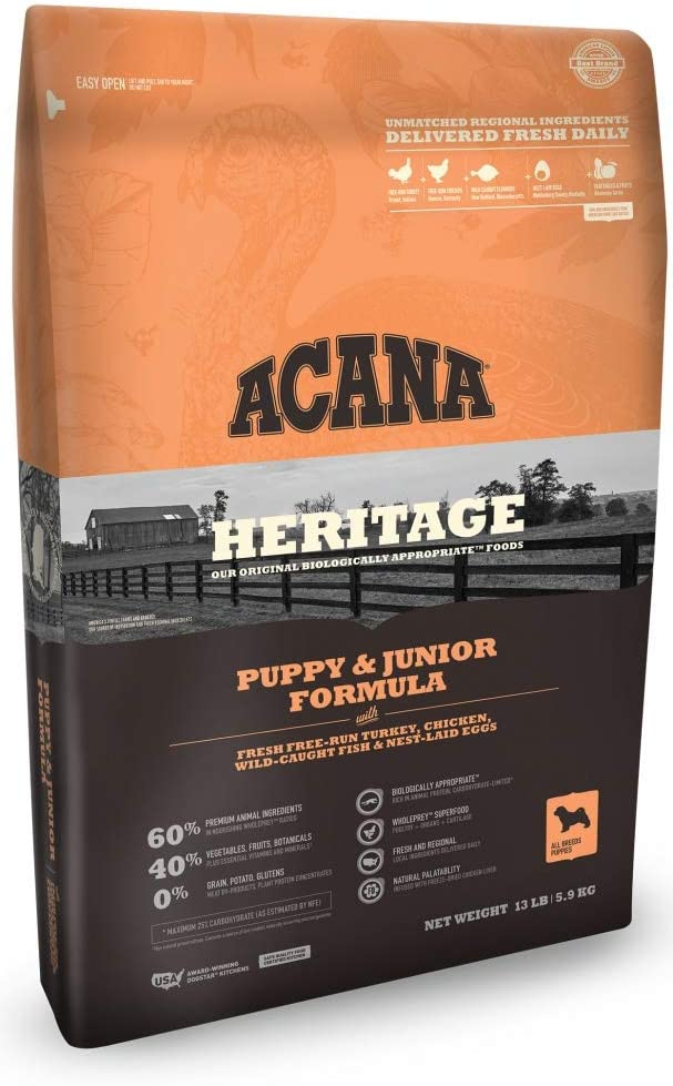 ACANA Heritage Puppy Junior Formula Grain Free Dry Dog Food 4.5 Pounds