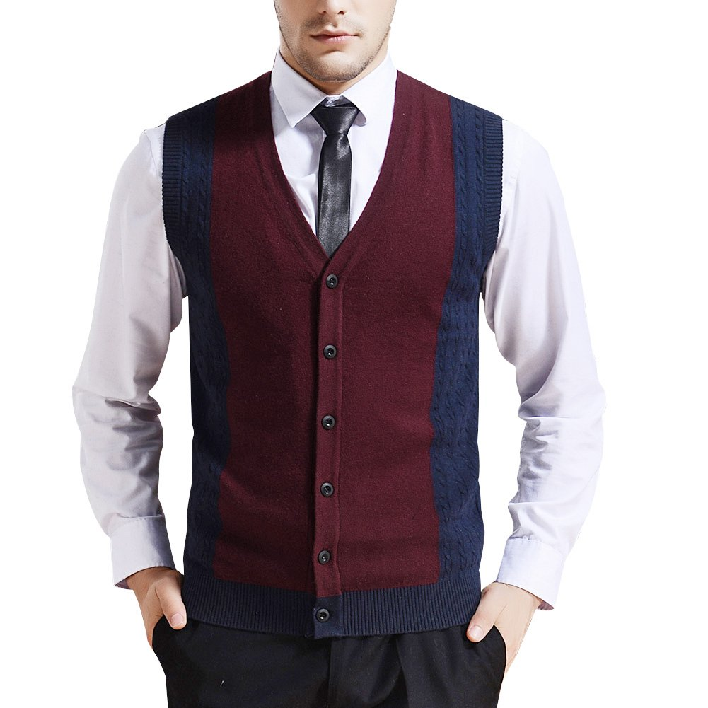 Zicac Men's Business V-Neck Assorted Color Knitwear Vest Cardigan Sweater (L, Wine Red) by Zicac