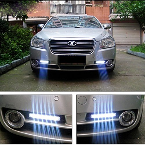Bhbuy 1 Set Car Daytime Running Light 8 LED DRL Daylight Head Lamp Super White 12v Dc