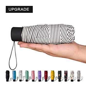 NOOFORMER Mini Travel Sun/&rain Umbrella Light Compact Parasol with 95/% UV Protection for Men Women Multiple Colors