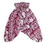 Lofbaz Kids Harem Aladdin Elephant Special Child Pants Bohemian Hippy Burgundy Size 3/4Y