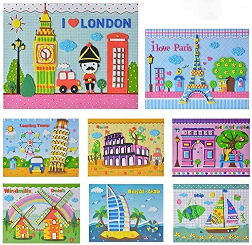 Mosaic Stickers Art Kits for Kids DIY Handmade Mosaic EVA Foam Stickers 3D Puzzle Drawing for Preschool Toddlers Early Learning Games 8Pcs