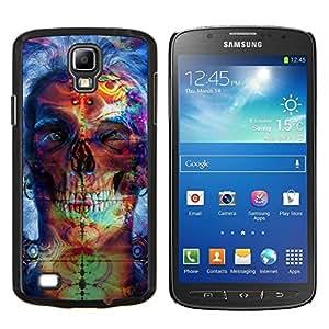 KLONGSHOP // Cubierta de piel con cierre a presión Shell trasero duro de goma Protección Caso - Psychedelic Neon Skull - Samsung Galaxy S4 Active i9295 //