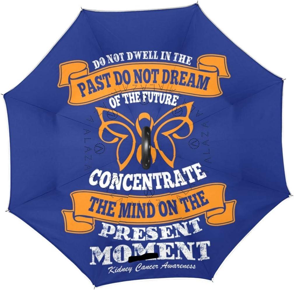 Car Reverse Folding Umbrella Inverted Umbrella with Quote Kidney Cancer Awareness Print