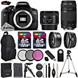 Canon EOS Rebel T6i DSLR Camera + Canon 50mm 1.8 STM Lens + Canon 75-300mm Lens + 0.43 Wide Angle Lens + 2.2x Telephoto Lens + 64GB Storage + Table-Top-Tripod - International Version