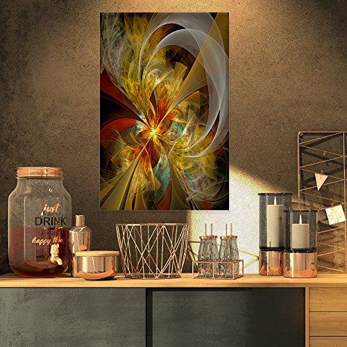 Design Art PT12034-16-32 Bright Yellow Symmetrical Flower Design Modern Floral Canvas Wall Art, 16x32, Black from Design Art