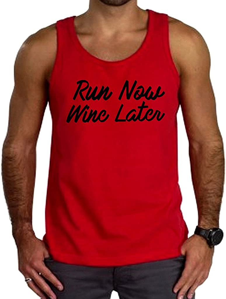 Mens Run Now Wine Later V444 Tee Red Tank Top Red