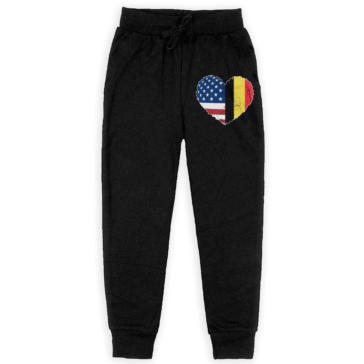 WYZVK22 Belgium USA Flag Heart Soft//Cozy Sweatpants Youth Warm Fleece Active Pants for Teen Boy