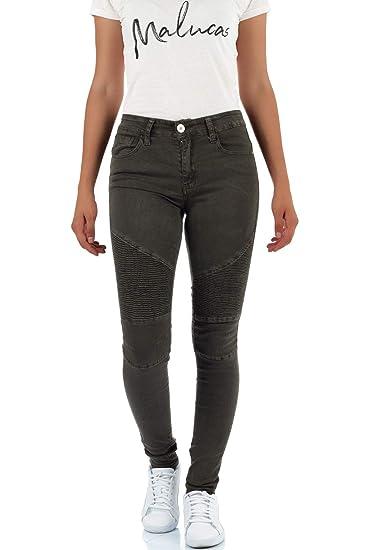 Malucas Damen Skinny Jeans mit Mittlerem Bund Hose Stretch