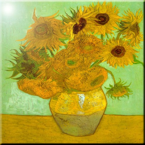 (Rikki Knight Van Gogh Art Twelve Sunflowers Design Ceramic Art Tile, 8