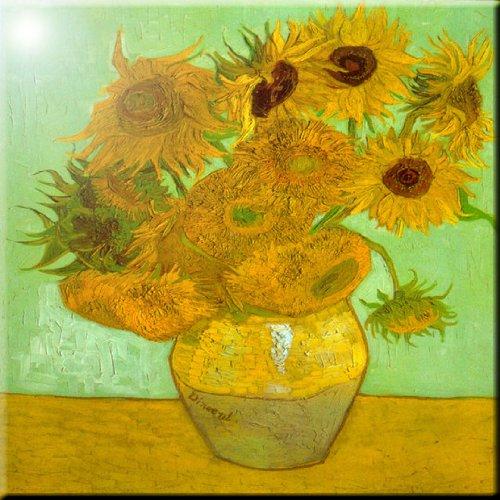 Rikki Knight Van Gogh Art Twelve Sunflowers Design Ceramic Art Tile, 8