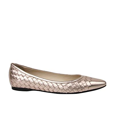 316c76782432 Image Unavailable. Image not available for. Color  Bottega Veneta Rose Gold  Intrecciato Leather Pointed Flat ...