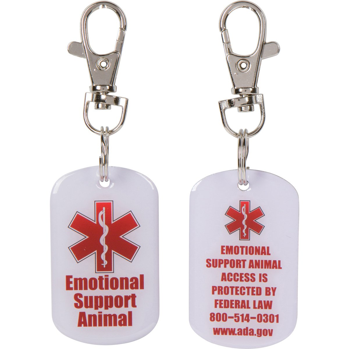 2 DOUBLE SIDED Emotional Support Animal (ESA) with Red Medical Alert Symbol 1.25 inch Durable ID Tag. QUICK RELEASE metal lobster clamp allowing you to switch between collars and vest.